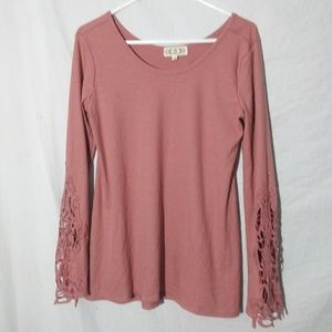 Pink Rose Woman's Pink love sleeve knit top sz Lg